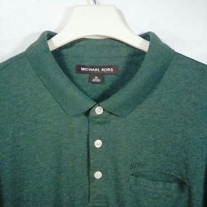 Michael Kors green terry cloth pocket polo rugby
